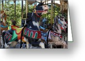 County Fair Greeting Cards - Merry Go Around - 5D19212 Greeting Card by Wingsdomain Art and Photography
