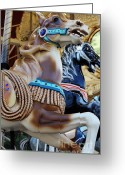 County Fair Greeting Cards - Merry Go Around - 5D19243 Greeting Card by Wingsdomain Art and Photography