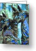County Fair Greeting Cards - Merry Go Around Horses - Painterly - Blue Greeting Card by Wingsdomain Art and Photography