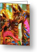 County Fair Greeting Cards - Merry Go Around Horses - Painterly Greeting Card by Wingsdomain Art and Photography
