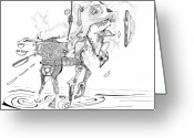 Surrealism Drawings Greeting Cards - Merry-Go-Round Horse Greeting Card by Regina Valluzzi