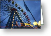 Hamburg Greeting Cards - Merry-go-round on Hamburg Dom Greeting Card by Heiko Koehrer-Wagner