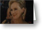 Colette Greeting Cards - Meryl Streep receiving the Oscar as Margaret Thatcher  Greeting Card by Colette Hera  Guggenheim