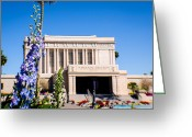 Mormon Temple Photography Greeting Cards - Mesa Temple Delphinium Greeting Card by La Rae  Roberts