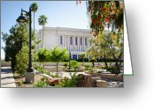 Mormon Temple Photography Greeting Cards - Mesa Temple Lamp Post Greeting Card by La Rae  Roberts