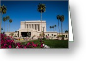 Mormon Temple Photography Greeting Cards - Mesa Temple Petunia Greeting Card by La Rae  Roberts