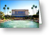Mormon Temple Photography Greeting Cards - Mesa Temple Pool Greeting Card by La Rae  Roberts