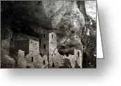 Mesa Verde Greeting Cards - Mesa Verde - Monochrome Greeting Card by Ellen Lacey