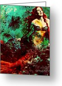 Mermaid Print Greeting Cards - Mesmerizing Mermaid Greeting Card by Ankeeta Bansal