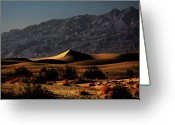 Mountain Ranges Greeting Cards - Mesquite Flat Sand Dunes Death Valley - Spectacularly abstract Greeting Card by Christine Till