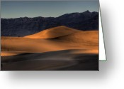 Dunes Greeting Cards - Mesquite Flats Sunsrise Greeting Card by Peter Tellone