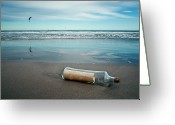 Misfortune Greeting Cards - Message In Bottle Greeting Card by Elvira Boix Photography