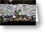 Imac Greeting Cards - Messages To Steve Jobs . RIP . San Francisco Apple Store Memorial . Left Side . October 5 2011 Greeting Card by Wingsdomain Art and Photography
