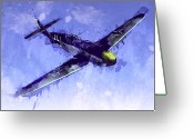Airplane Greeting Cards - Messerschmitt Bf 109 Greeting Card by Michael Tompsett