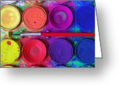 Paintbrush Photo Greeting Cards - Messy Paints Greeting Card by Carlos Caetano