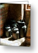 Jugs Greeting Cards - Metal Jugs by Window Greeting Card by Susan Savad