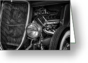 Monochrome Hot Rod Greeting Cards - Metal Man Art Greeting Card by John Herzog