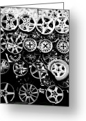 Aluminum Greeting Cards - Metal Wheels Greeting Card by Ion-Bogdan DUMITRESCU