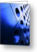 Blue Blocks Greeting Cards - Metallic background Greeting Card by Jane Rix