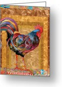 Rooster Painting Greeting Cards - Metallic Rooster Greeting Card by Bob Coonts