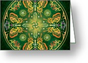 Sacred Geometry Greeting Cards - Metamorphosis Mandala Greeting Card by Cristina McAllister