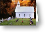 Autumn Scenes Greeting Cards - Methodist Church-Cades Cove Greeting Card by Thomas Schoeller
