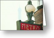 Street Light Greeting Cards - Metro Sing Paris Greeting Card by Gabriela D Costa