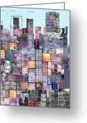 Book Cover Greeting Cards - Metropolis 3 Greeting Card by Andy  Mercer