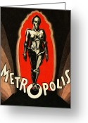 Vintage Movie Poster Greeting Cards - Metropolis Greeting Card by Bill Cannon