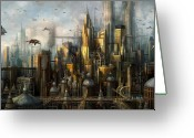 Illustration Greeting Cards - Metropolis Greeting Card by Philip Straub