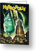 Vintage Movie Poster Greeting Cards - Metropolis Poster Greeting Card by Bill Cannon