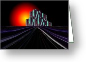 Orange Grey Greeting Cards - Metropolis Greeting Card by Tim Allen