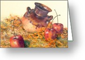 Signed Pastels Greeting Cards - Mexican Apples 2 Greeting Card by DEVARAJ DanielFranco