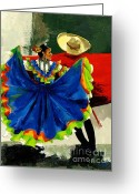 Dancers Greeting Cards - Mexican Dancers Greeting Card by Elisabeta Hermann