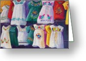 Bright Pastels Greeting Cards - Mexican Dresses Greeting Card by Candy Mayer