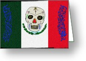 Flag Day Greeting Cards - Mexican Flag of the Dead Greeting Card by Bill Cannon