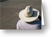Headgear Greeting Cards - Mexican Man Wearing A Cowboy Hat Greeting Card by Gina Martin