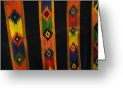 Lines Tapestries - Textiles Greeting Cards - Mexican Throw Rug Colorful Greeting Card by Unique Consignment