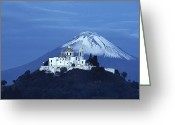 Snow Capped Photo Greeting Cards - Mexico, Cholula, Catholic Church Greeting Card by Keenpress