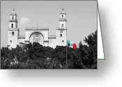 Travelpixpro Greeting Cards - Mexico Flag on Merida Cathedral San Ildefonso Town Square Color Splash Black and White Greeting Card by Shawn OBrien