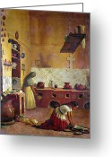Mesoamerican Greeting Cards - MEXICO: KITCHEN, c1850 Greeting Card by Granger