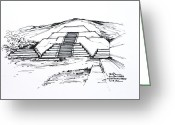 Pyramid Drawings Greeting Cards - Mexico Teotihuacan Moon Pyramid Greeting Card by Robert Birkenes