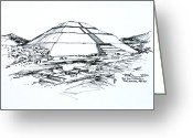 Pyramid Drawings Greeting Cards - Mexico Teotihuacan Sun Pyramid Greeting Card by Robert Birkenes