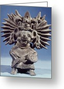 Ceramic Sculpture Greeting Cards - Mexico: Vampire Goddess Greeting Card by Granger