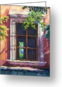 Adobe Pastels Greeting Cards - Mexico Window Greeting Card by Candy Mayer