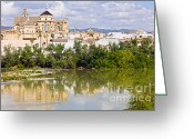 Historical Site Greeting Cards - Mezquita Cathedral by the River in Cordoba Greeting Card by Artur Bogacki