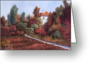 Warm Painting Greeting Cards - Mezza Bicicletta Nel Bosco Greeting Card by Guido Borelli