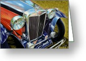 Sports Car Greeting Cards - MG Hood Detail Greeting Card by David Kyte