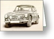 Sports Car Greeting Cards - MG MGB MkII Greeting Card by Michael Tompsett