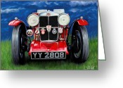 Red Sportscar Greeting Cards - MG TA Sports Car Greeting Card by David Kyte